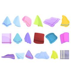 Handkerchief icons set cartoon style vector