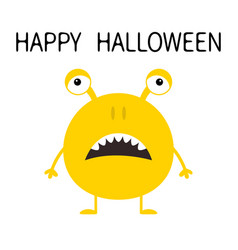 Happy halloween cute yellow monster icon cartoon vector