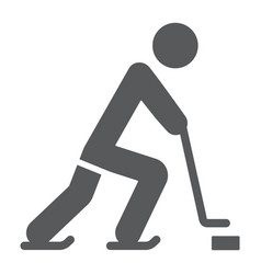 hockey player glyph icon sport and skate ice vector image
