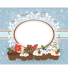 Holiday card with Christmass muffins vector image