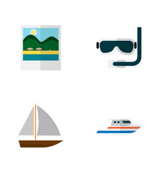 Icon flat summer set aqualung pictures ship vector