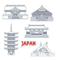 Japan landmarks temples and pagodas shrines vector