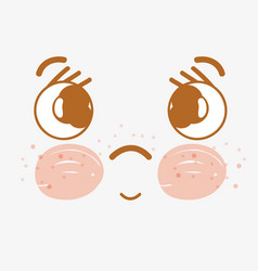 Kawaii sad face with cheeks and mouth vector