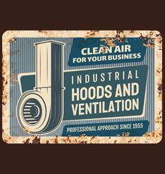 Kitchen hoods and ventilation metal plate rusty vector