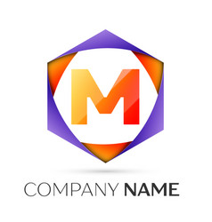 Letter m symbol in the colorful hexagonal vector