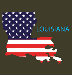 Louisiana state of america with map flag print on vector