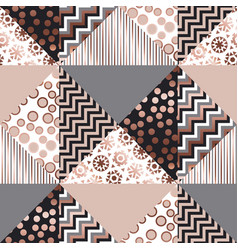 luxury rose gold xmas geometric seamless pattern vector image