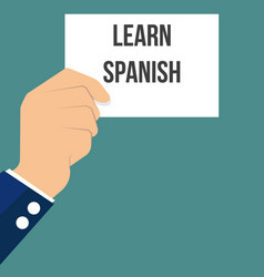 Man showing paper learn spanish text vector