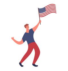 Man with flag usajoyful guy cartoon character vector