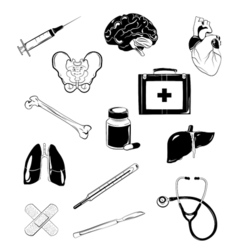 Medical elements set isolated on white vector