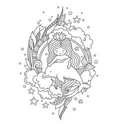 Mermaid and dolphin surrounded by clouds and vector