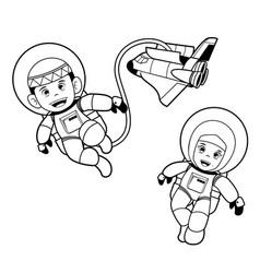 Moslem astronaut kids - art line vector