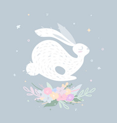 nice rabbit jumping over delicate flowers vector image