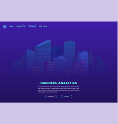 Night city landing page vector