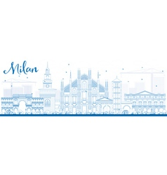 Outline Milan Skyline with Blue Landmarks vector