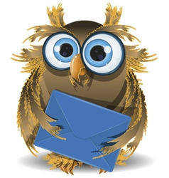 owl with a letter vector image