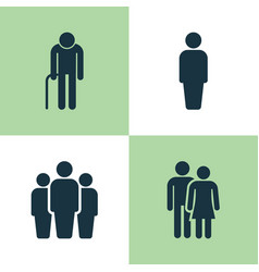People icons set collection of grandpa group vector