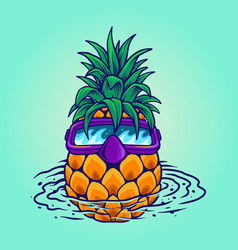 pineapple swimming summer holiday vector image