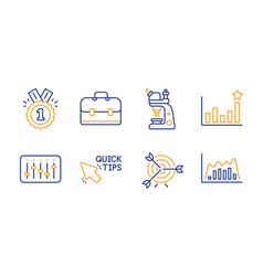 Quick tips dj controller and efficacy icons set vector