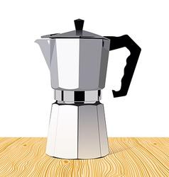 Realistic italian metallic coffee maker on wooden vector