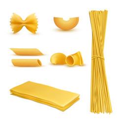 Realistic set macaroni italian pasta vector