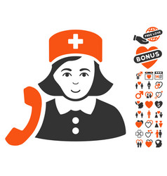 receptionist nurse icon with dating bonus vector image