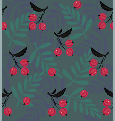 Red berries a seamless pattern vector