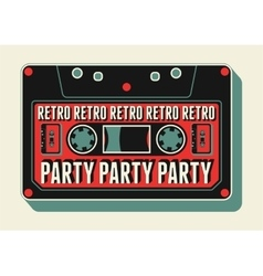 Retro party poster design with an audio cassette vector