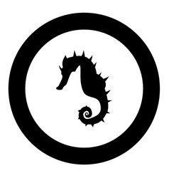 seahorse icon black color in circle vector image