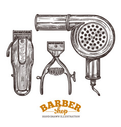 set barbeshop tools and accessories vector image