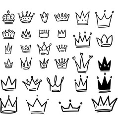 set crown in sketching style corona symbols vector image