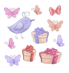 set of birthday gifts butterfly and birdie vector image