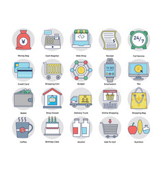 Shopping and electronic payments flat icons vector