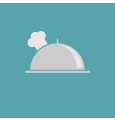 Silver platter cloche and chefs hat icon vector image
