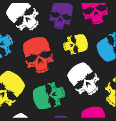 Skulls seamless pattern background color skull vector