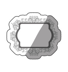 Sticker gray scale oval rectangle heraldic baroque vector