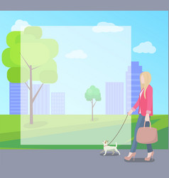Stylish woman walking with her small dog in park vector