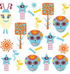sugar skulls seamless pattern it is located in vector image