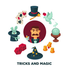 trick and magic promotional poster with magician vector image