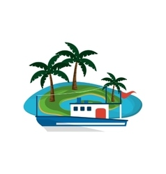 tropical island and boat or ship icon vector image