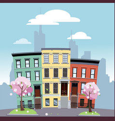 urban area low bright colored houses against vector image