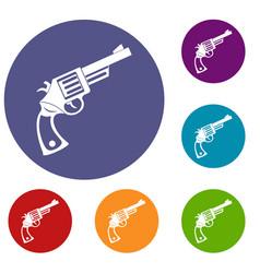 Vintage revolver icons set vector