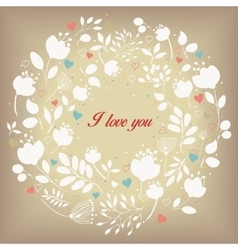 White floral ring I love you Vintage card vector