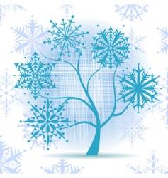 winter tree snowflakes vector image