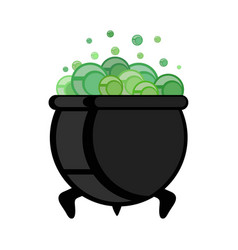witch pot of boiling green magic potion for vector image