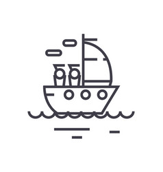 yacht sailing linear icon sign symbol on vector image
