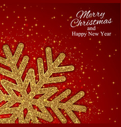 year background with gold snowflake vector image