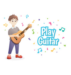 young boy playing guitar vector image