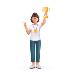 Young woman jane champion holds golden winner cup vector