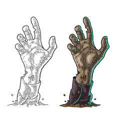 Zombie hand with claw black vintage vector